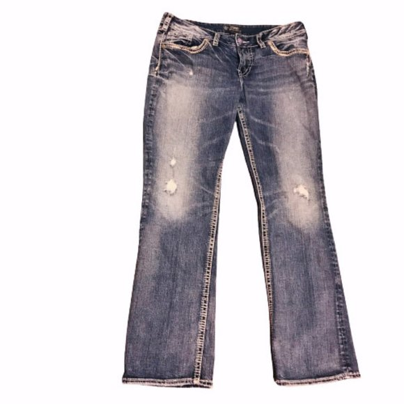 Silver Distressed Suki 'Mid Baby Boot' Jeans